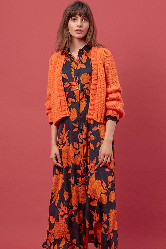 DRESS ALEXIA SAM 01, CARDIGAN KLO MOHAIR ORANGE